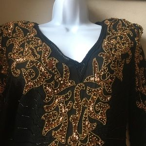 Black & Gold beaded dress